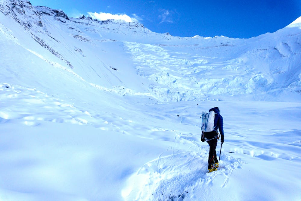Heading up to #Lhotse face around 6.30am. It was still quite cold so we waited until the sun came up